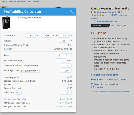 helium 10 xray profitability calculator