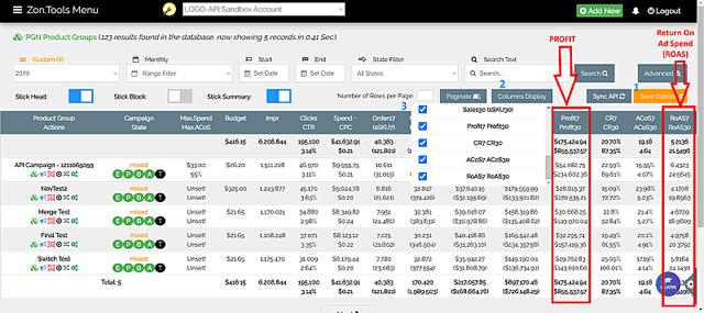 zontools roas and profit metrics