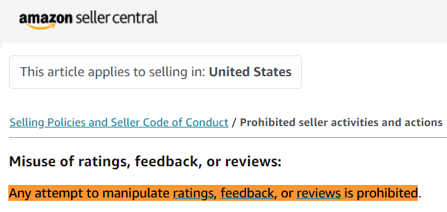 seller reviews policies