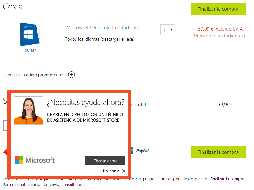 microsoft - checkout chat fail